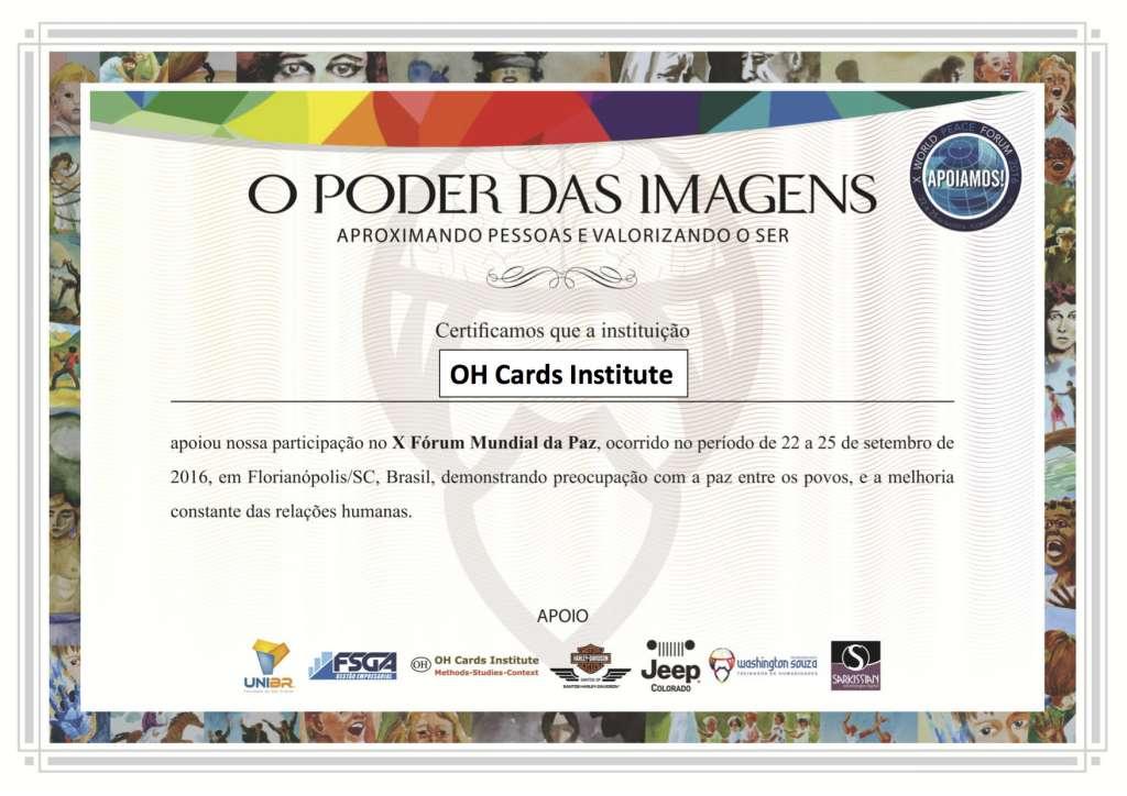 Certificado Apoio impressão OH Cards Institute